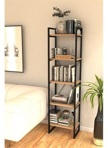 Mobitopya Nilamu  Çam 40 cm Kitaplık, Metal Aksamlı, Organizer, Ofis, Ev, 5 Raflı Kitaplık Kahve